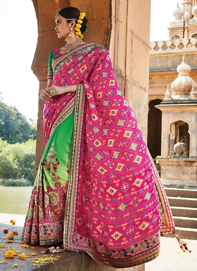 Astounding Hot Pink Pure Print Patola Silk Saree