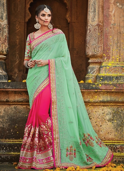 4a724e832e Girlish Sea Green Pure Georgette Saree