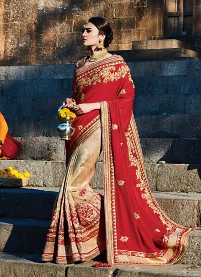 Demure Red Pure Satin Silk Saree