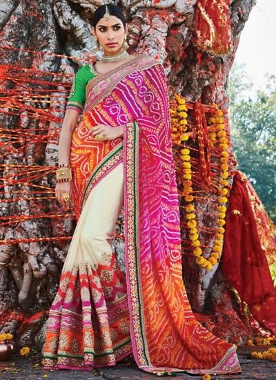 Sterling Multi Color Jaipuri Chiffon Saree