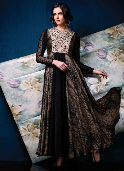 Titillating Satin Black Print Work Designer Gown