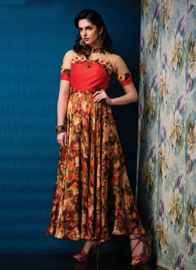 Net Multi Colour Print Work Designer Gown