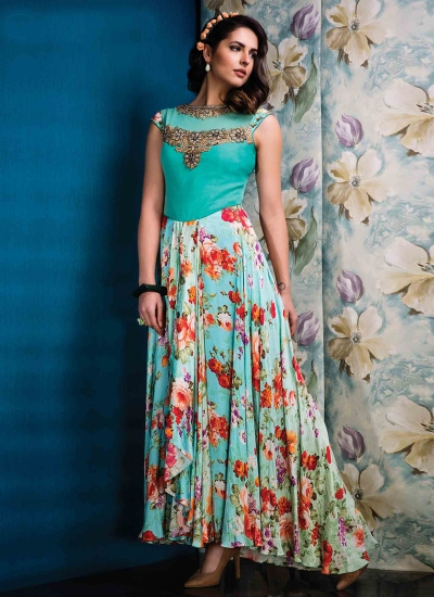 Staring Net Print Work Multi Colour Designer Gown