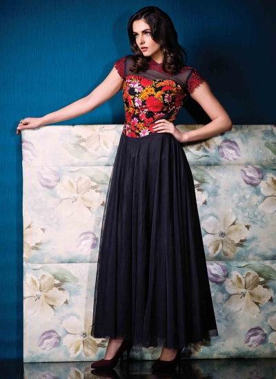 Riveting Multi Colour Net Print Work Designer Gown