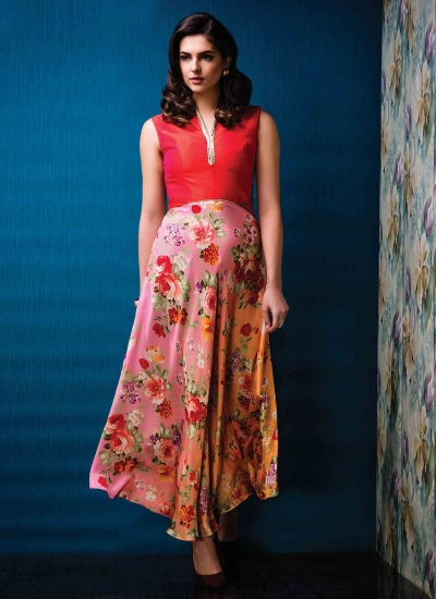 Classical Multi Colour Raw Silk Print Work Designer Gown