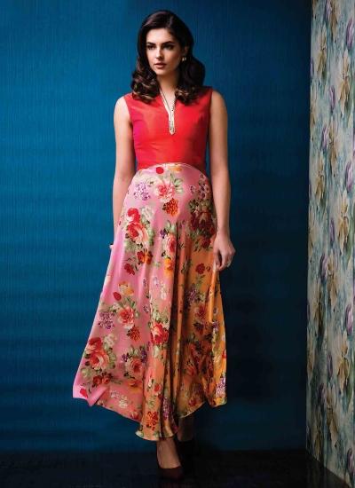Classical Multi Colour Raw Silk Print Work Designer Gown