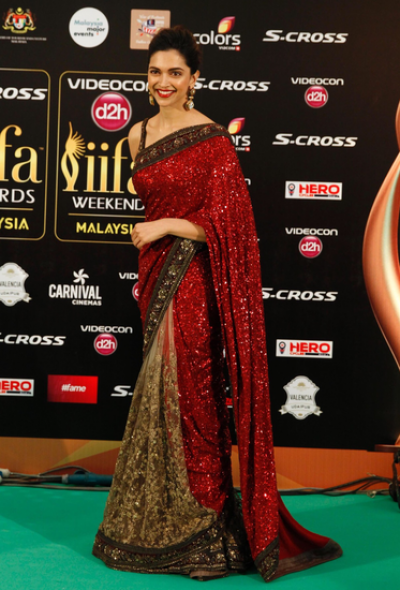 Deepika padukone georgette and net saree in red colour