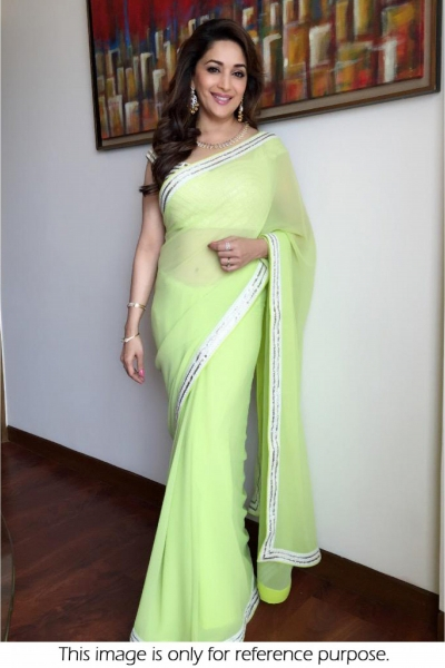 Madhuri DIxit Georgette saree in lime green colour