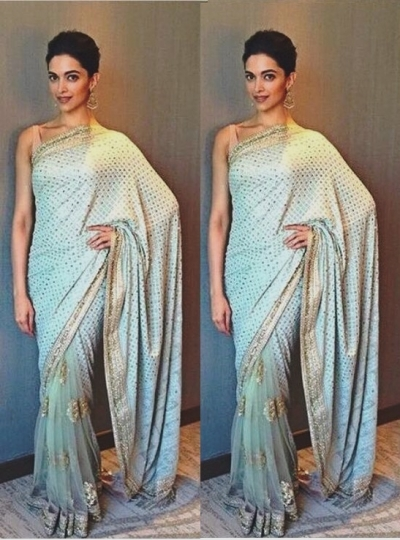 Deepika Padukone Light blue color Georgette and netted bollywood saree