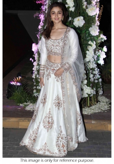 Alia Bhatt Net and Joya Silk Lehenga in White colour