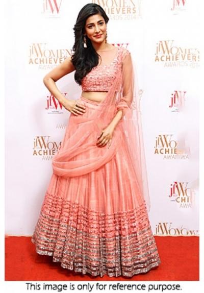 9f615a6203 Bollywood Style Shruti Hassan Net Lehenga in light pink colour
