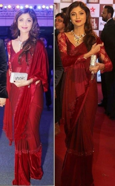 Shilpa Shetty georgette and velvet saree in maroon colour