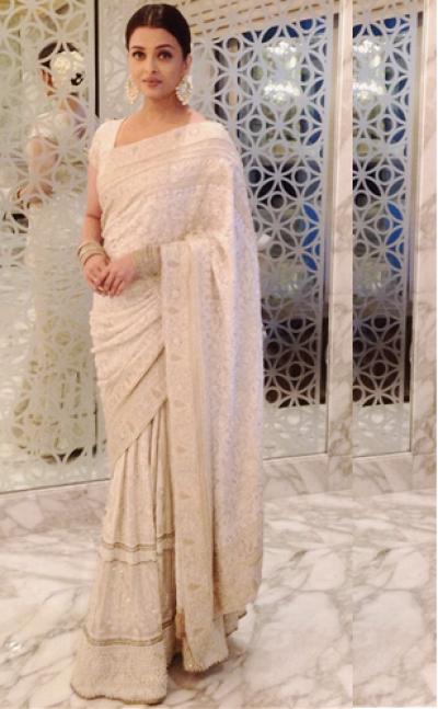 Aishwarya rai Georgette saree in white colour