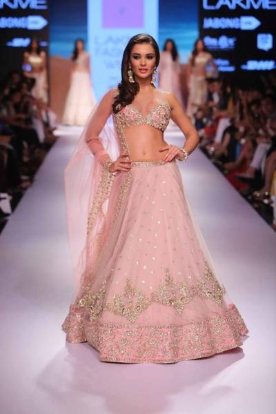 Amy Jackson Light Pink colour Netted Bollywood lehenga