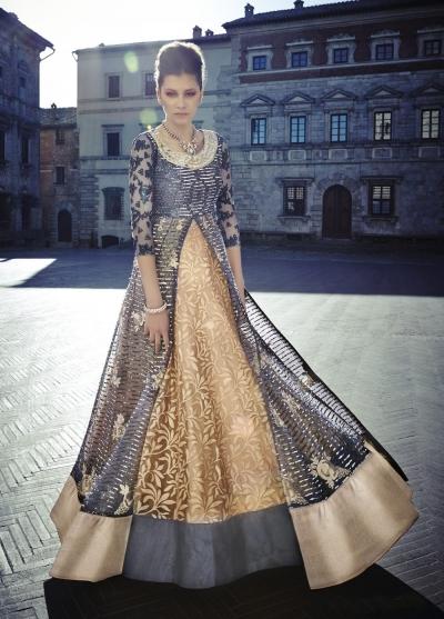Grey and gold color Net lehenga style wedding anarkali
