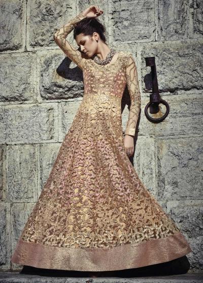 Gold and pink color Net wedding wear anarkali