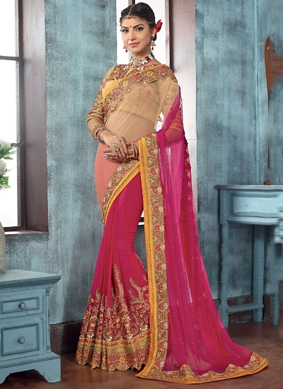 Lovable Magenta Net Designer Saree