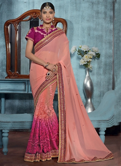 Beguile Peach Georgette On Net Designer Saree