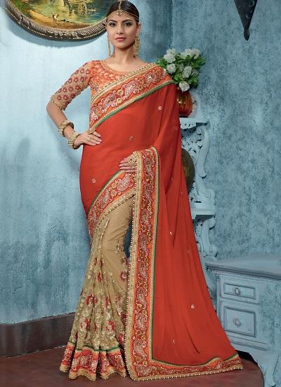 Inviting Red Satin On Net Designer Saree