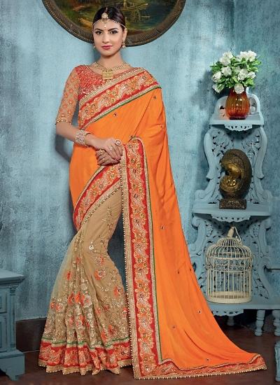Savvy Orange Satin On Net Saree