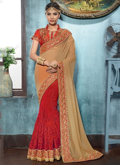 Adroid Cream Georgette On Net Designer Saree