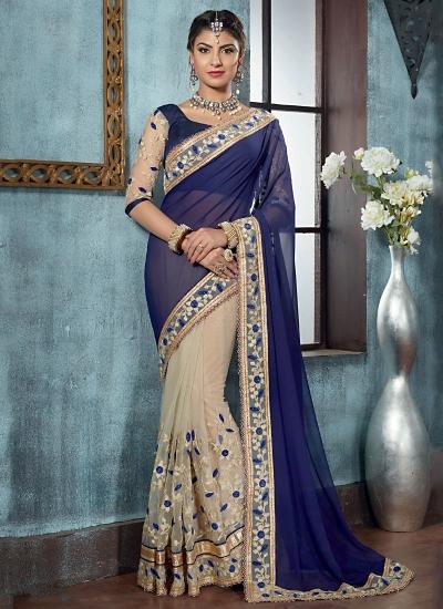 Crafty Navy Blue Georgette On Net Designer Saree