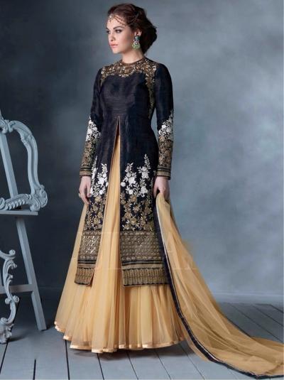 Black Bhagalpuri Silk Lehenga Style Anarkali Suit