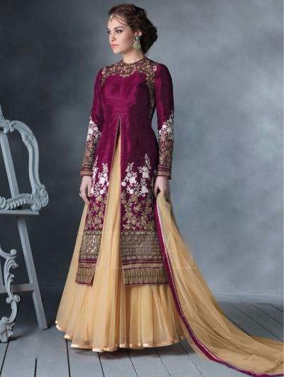 Burgundy Colour Bhagalpuri Silk Lehenga Style Anarkali Suit