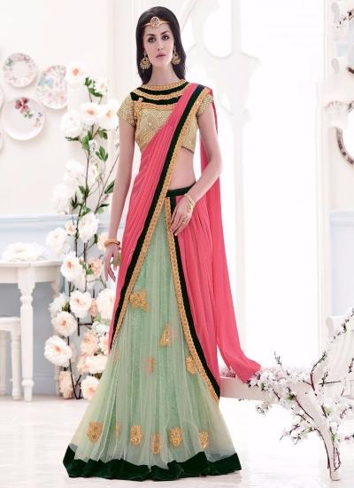 Pink and Sea Green Embroidered Work Net Lehenga Saree