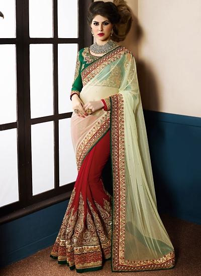 Aristocratic Beige Georgette On Net Designer Saree