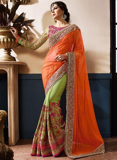 Luxurious Orange Georgette On Net Designer Saree