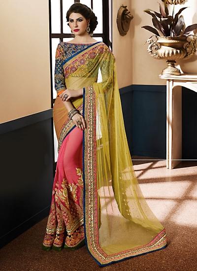 Breathtaking Yellow Green Georgette On Net Designer Saree