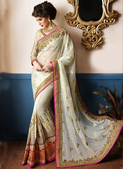 Perfect Off White Net Designer Saree