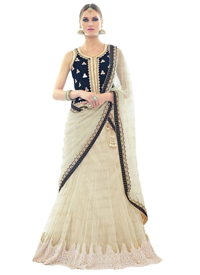 Flamboyant Off White Net Lehenga Choli