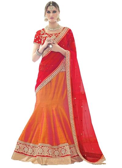 Delightsome Orange Bhagalpuri Silk Lehenga Choli