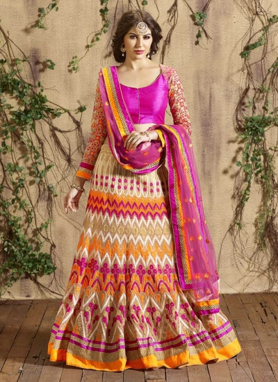 Dashing Fancy Fabric Multi Colour A Line Lehenga Choli