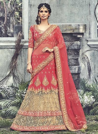 Modest Light Red Raw Silk Lehenga Choli