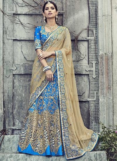 Enthusiastic Blue Raw Silk Lehenga Choli
