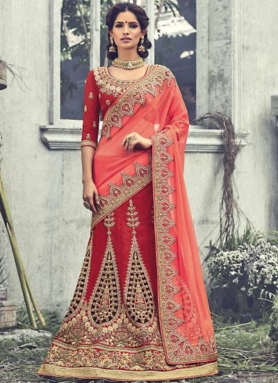 FervidaLight Maroon Raw Silk Wedding Lehenga Choli