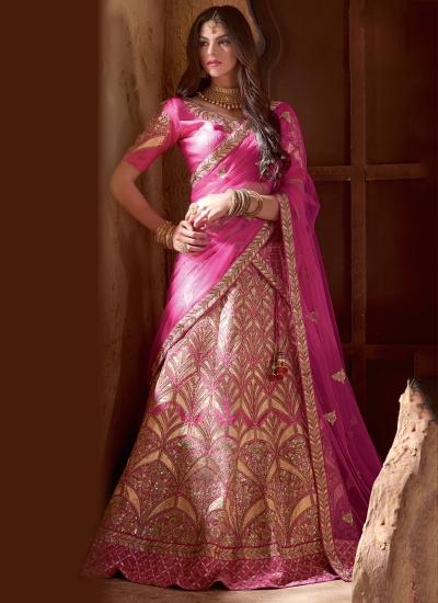 Pink colour banarasi silk bridal lehenga choli