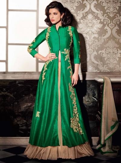 7e3b4602a0 Priyanka Chopra green color lehenga style wedding wear anarkali