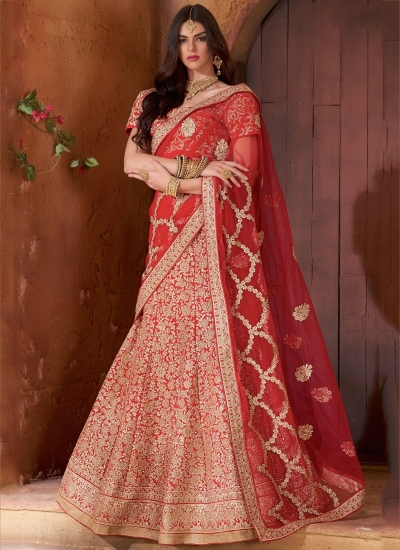 Exclusive red color banarasi silk bridal lehenga choli