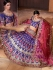 Blue and pink color banarasi silk Bridal Lehenga Choli