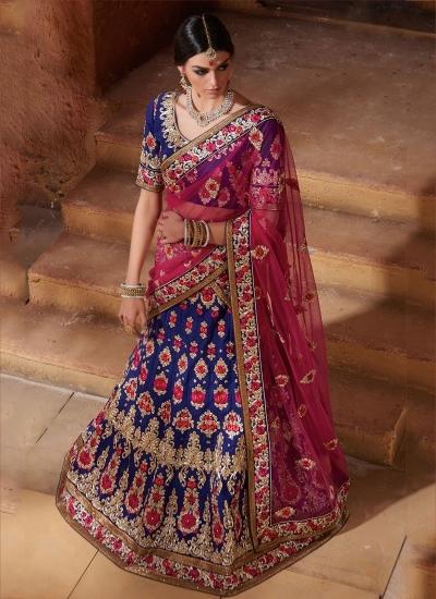 Blue and pink color banarasi silk Bridal Lehenga Choli