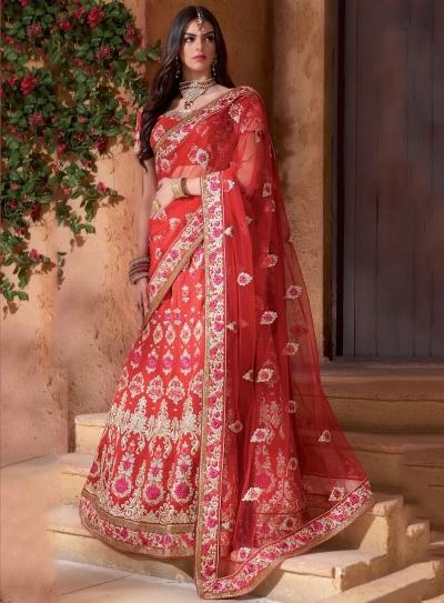 Traditinal red color banarasi silk Bridal Lehenga Choli