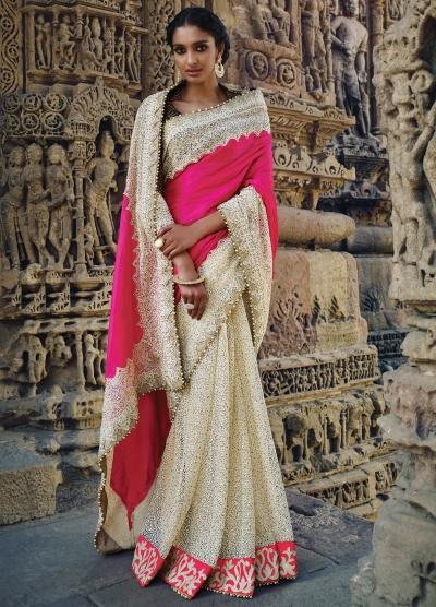 Half white and pink color silk Wedding saree