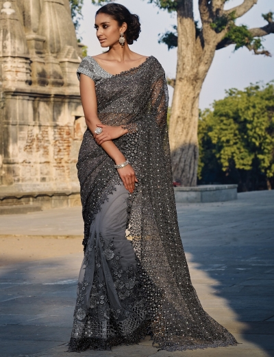 Grey colour Net Wedding saree