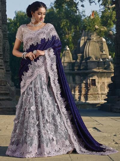 Grey and purple colour Net Moti work lehenga style Wedding saree