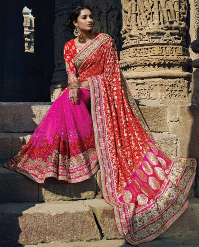 Pink and red Georgette and net Wedding saree