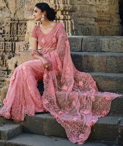 Light Pink Netted Moti work Wedding saree